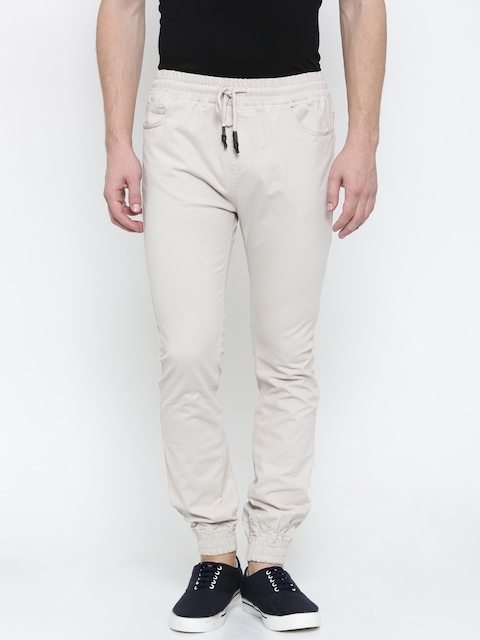 Nature Casuals Men Beige Solid Jogger Trousers