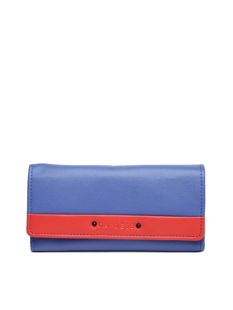 Caprese Women Blue & Coral Colourblocked Zip Around Wallet