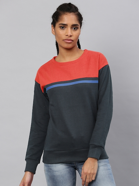 HRX by Hrithik Roshan Women Navy & Orange Colourblocked Sweatshirt