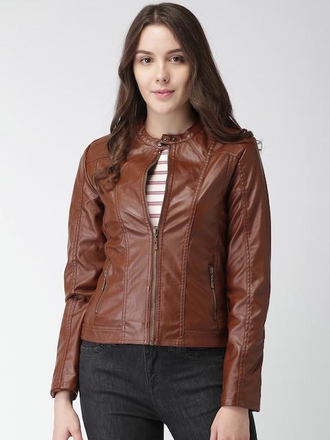 Harvard Women Brown Solid Biker Jacket