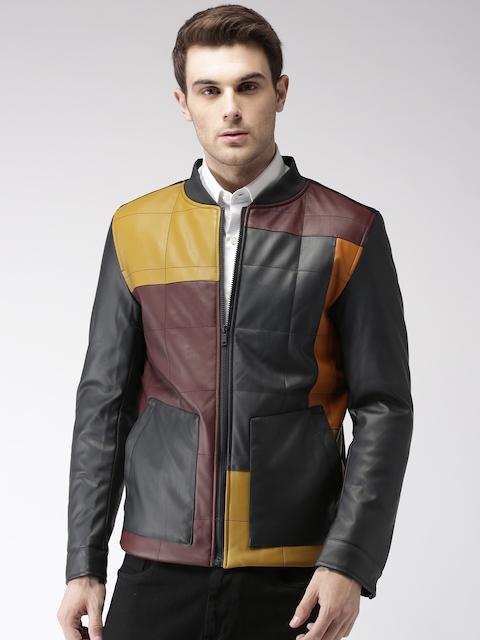 Harvard Men Black & Maroon Colourblocked Biker Jacket