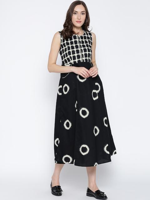 Biba Women Black & Off-White Printed Midi A-Line Dress
