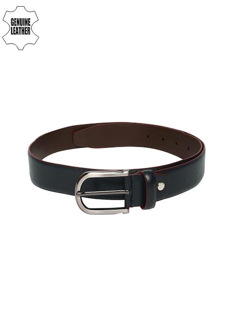 Lino Perros Men Navy Blue Genuine Leather Solid Belt