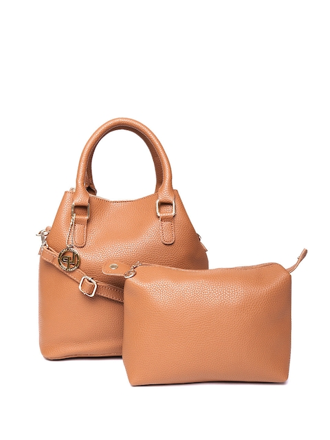 Lino Perros Brown Solid Handbag with Pouch