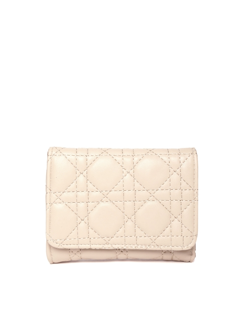 Lino Perros Women Beige Quilted Three Fold Wallet
