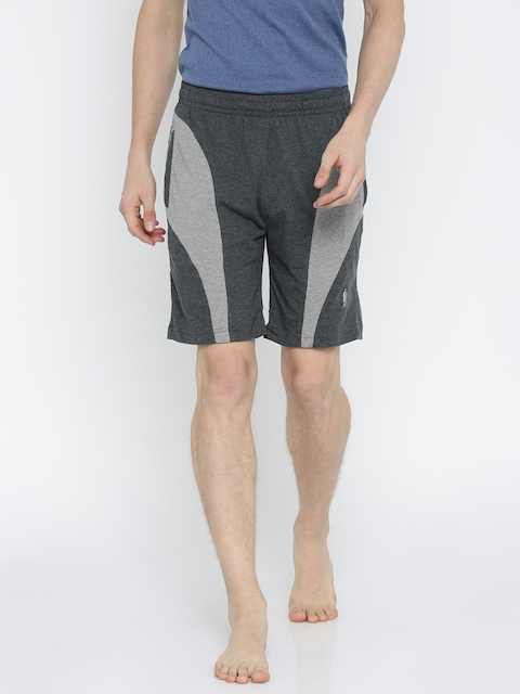 Jockey Men Grey Solid Straight Fit Regular Shorts