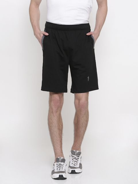 Jockey Men Black Solid Regular Fit Regular Shorts