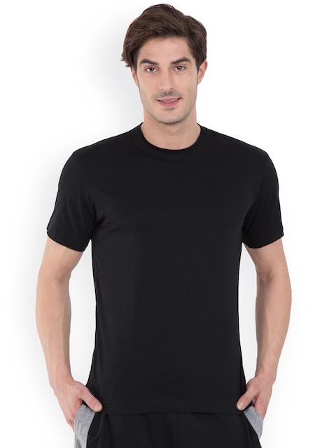 Jockey Men Black Solid Round Neck T-shirt