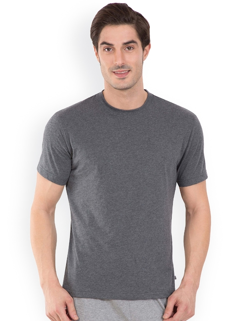 Jockey Men Grey Solid Round Neck T-shirt