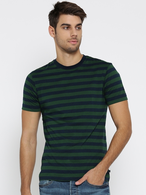 Jockey Men Green & Navy Blue Striped Round Neck T-shirt
