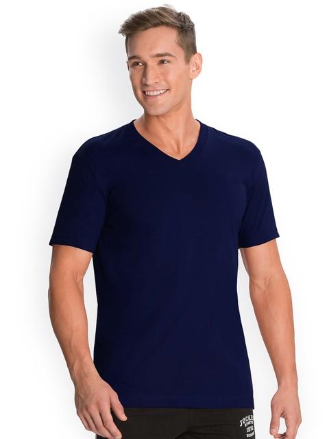 Jockey Men Navy Solid V-Neck T-shirt