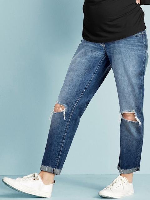 next Women Blue Regular Fit Mid-Rise Slash Knee Maternity Jeans
