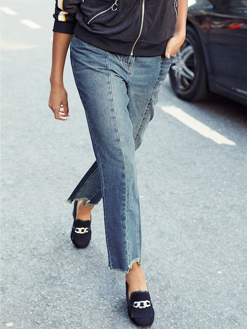 next Women Blue Relaxed Fit Mid-Rise Panelled Jeans
