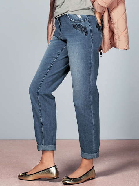 next Women Blue Boyfriend Fit Mid-Rise Clean Look Jeans