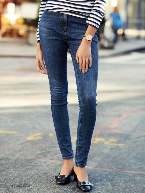 next Women Blue Contemporary Skinny Fit Mid-Rise Clean Look Jeans