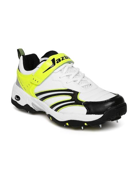 Jazba Men White & Lime Green Straight Drive 300 Cricket Shoes