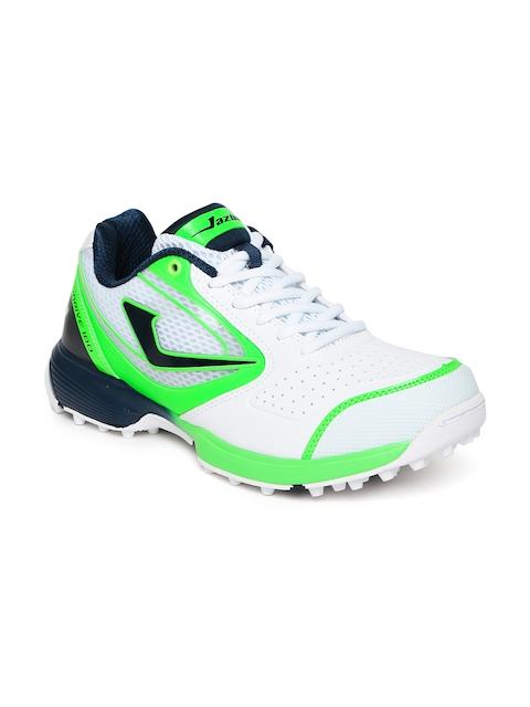 Jazba Men White & Green Skydrive 100 Cricket Shoes