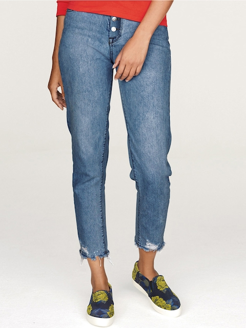 next Women Blue Relaxed Fit Mid-Rise Clean Look Ankle-Length Jeans
