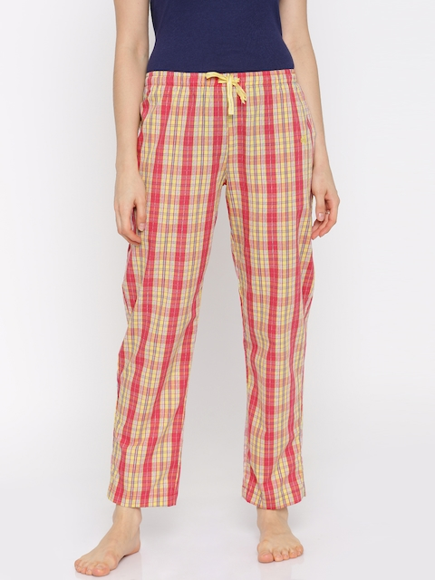 Jockey Yellow & Pink Checked Lounge Pants RX06-0103-00008