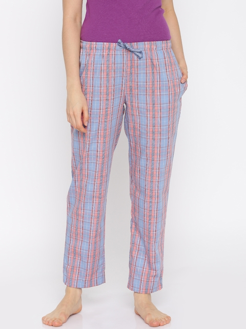 Jockey Blue & Peach Checked Lounge Pants RX06-0103-00009