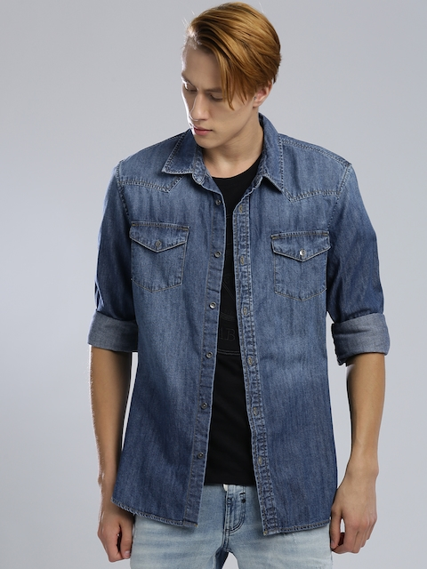 GUESS Men Blue Slim Fit Faded Denim Casual Shirt