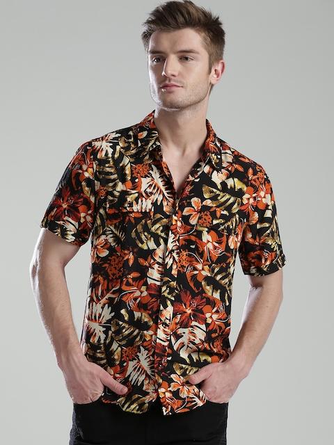 GUESS Men Black & Orange Printed Casual Shirt