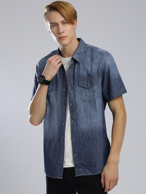 GUESS Men Blue Slim Fit Faded Denim Shirt