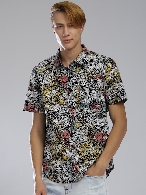 GUESS Men Multicoloured Slim Fit Printed Casual Shirt