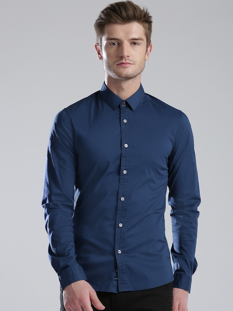 GUESS Men Blue Super Slim Fit Casual Shirt