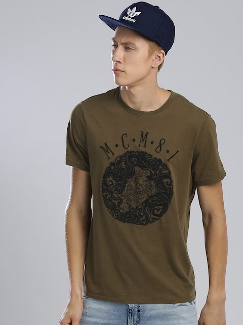 GUESS Men Olive Green Embroidered Round Neck T-shirt