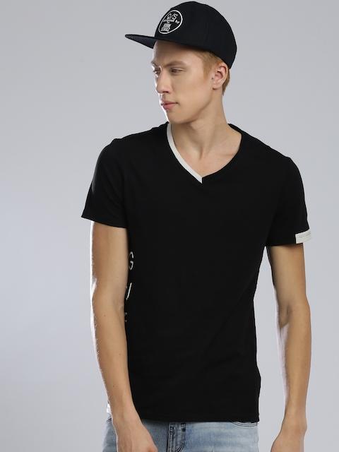 GUESS Men Black V-Neck T-shirt