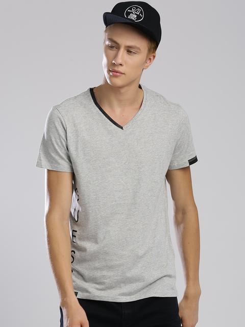GUESS Men Grey Melange V-Neck T-shirt