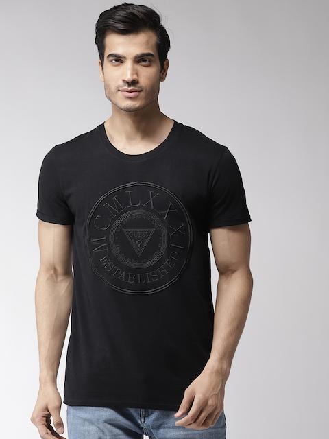 GUESS Men Black Self Design Round Neck T-shirt