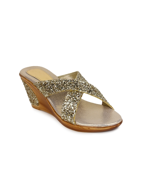 Shoetopia Women Gold-Toned Embellished Heels