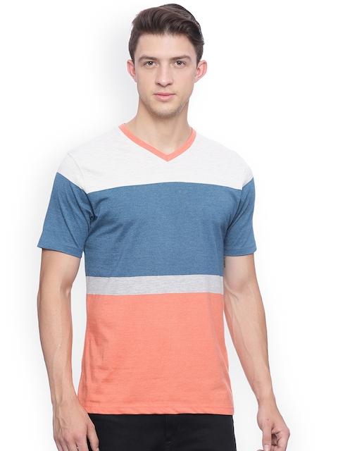 Crocodile Men Blue & Orange Colourblocked Slim Fit T-shirt