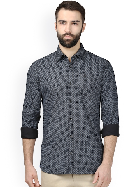 Parx Men Black Slim Fit Printed Casual Shirt