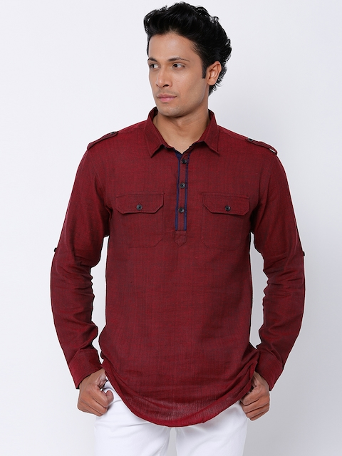 Svanik Men Maroon Solid Pathani Short Kurta  available at myntra for Rs.749