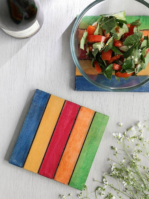 Unravel India Set of 2 Multicoloured Square Wood Striped Coasters