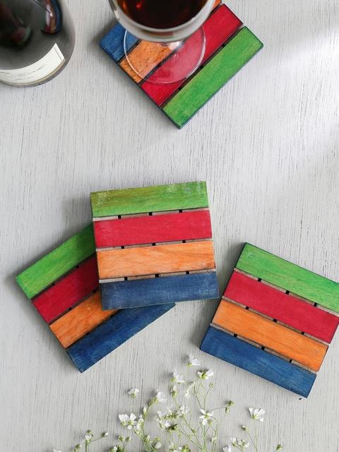 Unravel India Set of 4 Multicoloured Square Wood Striped Coasters