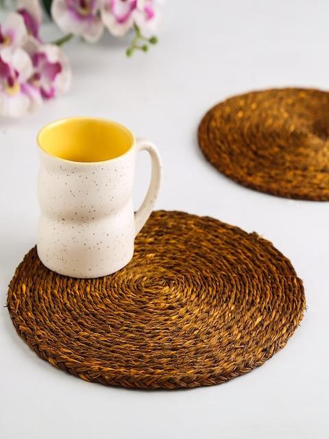 Unravel India Set of 2 Yellow Sabai Grass Dish Coasters