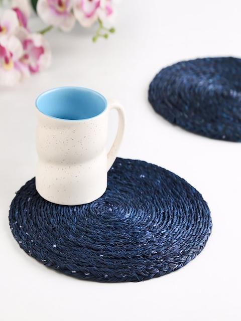 Unravel India Blue Set of 2 Sabai Grass Circular Coasters
