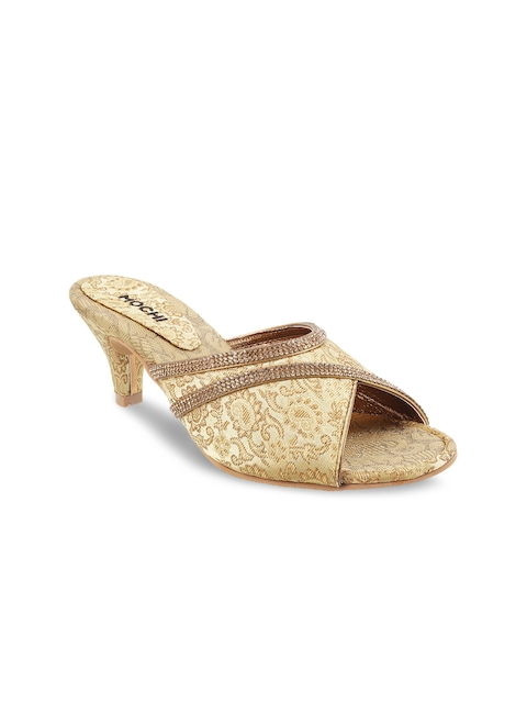 Mochi Women Gold-Toned Woven Design & Embellished Heels