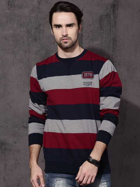 Roadster Men Grey & Navy Blue Striped Sweatshirt