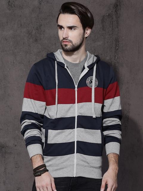Roadster Men Navy Blue & Grey Striped Hooded Sweatshirt