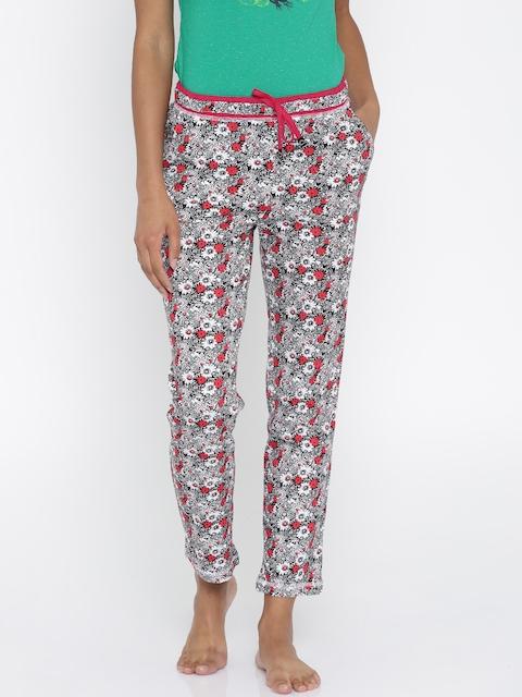 Sweet Dreams White & Black Floral Printed Pyjamas F-LLC