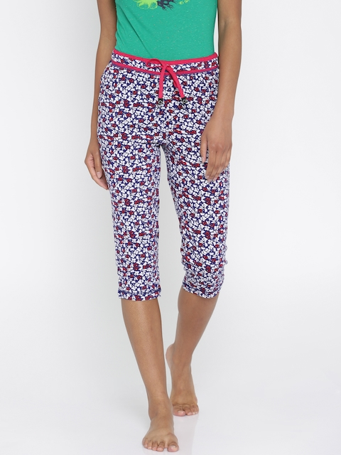 Sweet Dreams White & Blue Floral Printed Capris F-LLC
