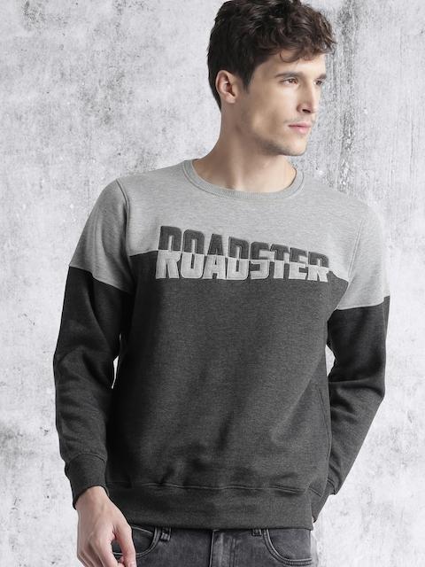 Roadster Men Charcoal Grey Self-Design Sweatshirt