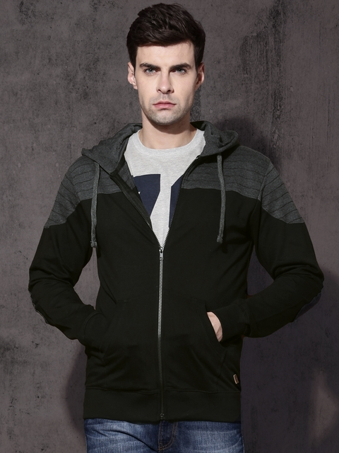 Roadster Men Black & Charcoal Grey Solid Hooded Sweatshirt