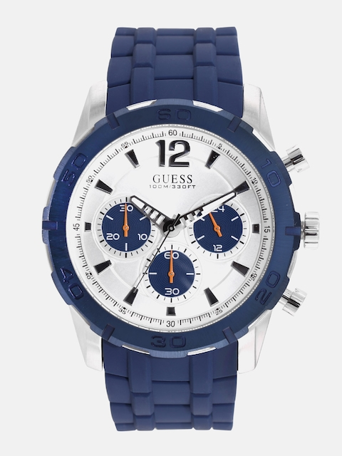 GUESS Men Silver-Toned Chronograph Watch W0864G6