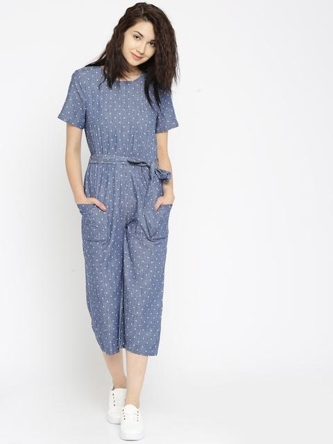 Vero Moda Blue Chambray Polka Dot Print Jumpsuit